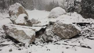 The rock slide on Highway 24 occurred in the same area as another major rock slide that happened in April.