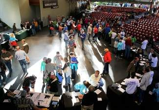 Prospective volunteers for the 2015 World Alpine Ski Championships attend a recruiting event Thursday at the Gerald R. Ford Amphitheater in Vail.