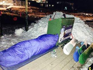 Nate Dogggg has been camping out for first chair of the year for 19 consecutive years.
