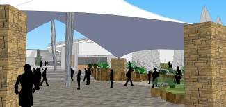 "The proposed ""social plaza"" just outside the Gerald R. Ford Amphitheater would include a fabric roof and an area where people could gather before and after events at the theater. The Town Council approved the proposal Tuesday."