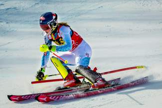 Mikaela Shiffrin of Vail charges down Aspen Mountain with the fastest time in the first run of the World Cup slalom Nov. 28, 2015. She went on to win another slalom that weekend before tearing her MCL two weeks later.