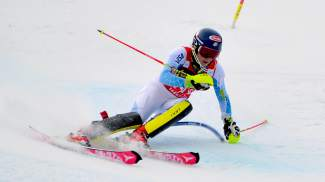 Mikaela Shiffrin takes a hard turn through the slalom course during a World Cup race in Aspen on Nov. 28.