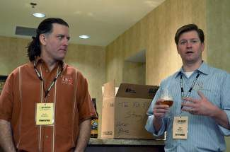 Will Myers, brewmaster at Cambridge Brewing Co., right, talks about the odyssey of working with micro-maltings while John Mallett, director of operations at Bell's Brewery, left, listens during a sensory workshop on malts at the Big Beers, Belgians & Barleywines Festival on Saturday, Jan. 11, in Vail.
