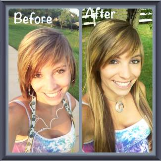 Shear Perfection salon owner Kelly Adams, before and after extensions.