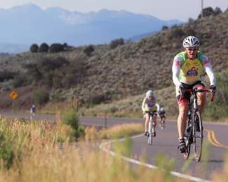 A cyclist rides up Highway 131 towards State Bridge during the  Colorado Eagle River Ride in 2012.