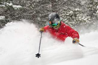 Local skier Drew Rouse enjoys some deep powder while skiing during a large winter storm that hit the valley Jan. 31 on Beaver Creek Mountain.