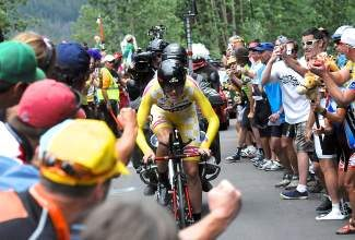 Colorado's Tejay van Garderen sprints up Vail Pass as fans cheer him on to win Stage 5 of the USA Pro Challenge last year.