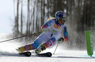 U.S. World Cup downhill champion Lindsey Vonn does a pace-setting run for Vail Resorts' EpicMix Racing program Nov. 8 at Golden Peak in Vail.