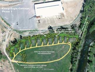 This site plan shows were nine camping spots, a host spot, groups camping and other amenities could be places south of the Eagle River Center at the Eagle County Fairgrounds.