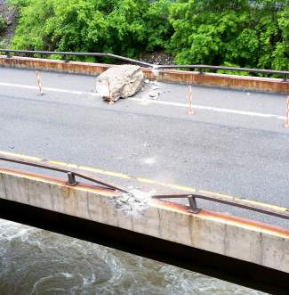 This is one of the rocks that fell onto Interstate 70 in Glenwood Canyon on Thursday.