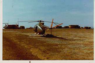This is one of the OH-6 helicopters Carl Gray flew in Vietnam. What you cannot see is the bullet holes on its under side.