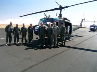 Carl Gray, third from left, with some of the officers and pilots he helped train during his years with the National's Guard's High Altitude Aviation Training Site.