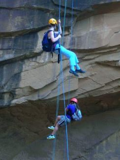 Participants of Full Circle of Lake County's Outdoor Leadership Club rappel down Morning Glory Canyon in Moab, Utah. The Outdoor Leadership Club helps Full Circle provide opportunities, education and caring relationships to youth throughout Lake County.