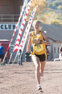 Battle Mountain's Val Constien rushes toward the finish at last year's state cross-country meet in Colorado Springs. Constien will continue her running career at Colorado University in Boulder this fall.