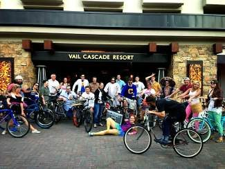 Attendees from one of last years Cruiser Crawls gather together in front of the Vail Cascade Resort.
