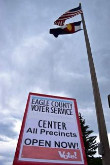 A sign outside of the Eagle County Voter Service Center in Avon announces the opening of the polls for the county's primary races. Higher-than-average turnout rates are expected due to competitive local primaries for both parties.