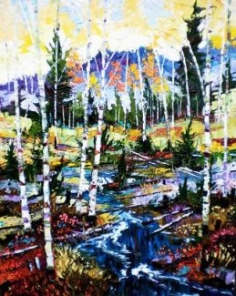 """""""A River Runs Through It,"""" by Patrick Matthews. Contemporary landscape artist Patrick Matthews is paiting at Paderewski Fine Art in Beaver Creek today through Saturday from 11 a.m. to 5 p.m. each day. Call 970-949-6036 or  visit www.paderewskifineart.com."""