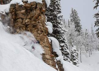 John Bailey, of Avon, finds a powdery face shot while riding through Stone Creek Chutes, which opened for the season earlier this month in Beaver Creek.
