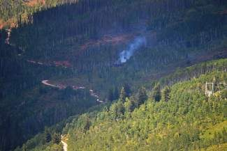 Crews from all of Eagle County's fire protection districts and departments responded to a wildfire in Vail up Red Sandstone Road on Monday. The blaze was contained that same afternoon.