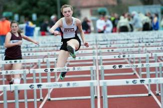 Eagle Valley's Sam Lay competes in the hurdles during the Mickey Dunn Invitational on Saturday at Grand Junction.