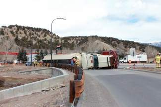 The Colorado Department of Transportation (CDOT) closed the I-70 westbound on ramp at mile marker 147 on Tuesday due to a semi-truck rollover accident blocking the lanes. Colorado State Patrol, CDOT crews and members of the Greater Eagle Fire Protection District were on scene. No injuries have been reported and crews are awaiting a hazmat team to arrive. The westbound on and off ramps were closed Tuesday evening as well   crews cleaned up the scene.