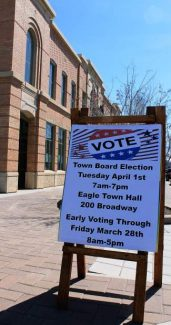 A sandwich board sign outside of Eagle Town Hall reminds voters that the April 1 municipal election will be a polling place election. The sole polling place for next week's vote is Eagle Town Hall, 200 Broadway.