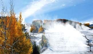 Snowguns fire man-made snow onto Golden Peak Saturday morning on Vail Mountain. Vail fired up its snowmaking operations for the first time this season Friday afternoon.