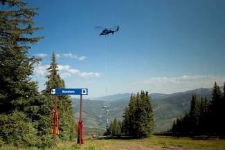 The towers for Vail Mountain's new, six-passenger chairlift to replace the Mountain Top Express Lift (No. 4) were flown in last week.