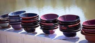 People often arrive right at noon for the Empty Bowls fundraiser so they have first choice when it comes time to pick out a bowl to take home.