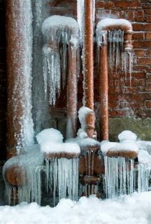 Ice coats leaking pipes in a downtown Cleveland alley, in Ohio. With much of the nation gripped in record cold at some point this winter, homeowners have had to deal with pipes freezing, and then bursting. Damage from a burst pipe can vary greatly, depending on the amount of time that the water runs unabated.