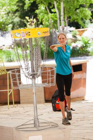 Jana Medema competes in the Vibram Disc Golf Experience on Friday at the GoPro Mountain Games in Vail.