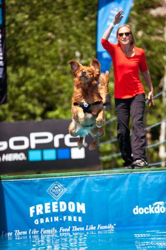 Competitors practice before the DockDogs Outdoor Big Air competition begins at the GoPro Mountain Games on Friday at Golden Peak in Vail.