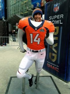 Vail Valley resident Annette Ramer poses for a photo from Times Square in New York City, where Broadway has been redesignated as 'Super Bowl Boulvard' for Sunday's game.