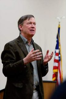 Gov. John Hickenlooper speaks to a packed lecture hall at the Colorado Mountain College campus in Edwards on Friday. He is making similar stops around the state to talk to constituents about business in Colorado.