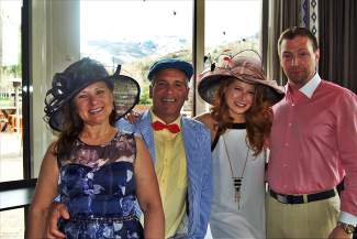 Staci and Tom Crisofulli and Sarah and Clint Jannsen wore their Derby best at the fourth-annual Vail Derby Party at Maya Restaurant.