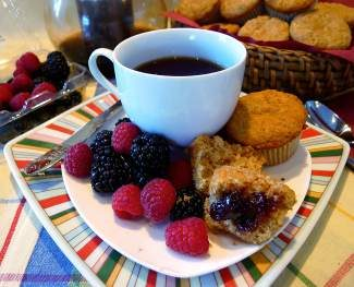 This muffin, made with whole grains and no refined sugar or butter, makes for a healthy treat.