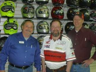 From left to right, Integra Motorsports Operations Manager Tim Darnley, Sales Manager Phil Lindeman and General Manager Jay Taylor stand in a room full of new merchandise at 375 Lindbergh Drive in Gypsum. Integra recently became a hub for motor bike and ATV sports when it acquired Hi Point Motorsports' inventory in Glenwood Springs.