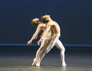 "Tiler Peck and Robert Fairchild in ""Apollo."""
