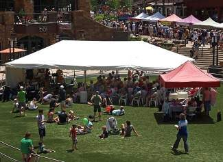 Live jazz in Solaris Plaza graces the Vail Farmer's Market on Sunday.