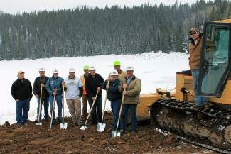 Gypsum staff, officials and contractors celebrate the work starting on LEDE Reservoir south of Gypsum on Nov. 19. From left to right are: Water Engineer Tom Zancanella, Gypsum Town Council members Tim McMichael and Tom Edwards, Gypsum Engineers Jim Hancock and Jerry Law,  Gypsum Town Council member Beric Christiansen, Gypsum Mayor Steve Carver, Gypsum Public Works Director Jeff Shreeve, and Hobbs Excavating owners Stewart and Rowdy Hobbs.