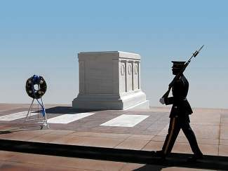 The Tomb of the Unknown Soldier, Arlington National Cemetery, Virginia.
