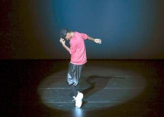 "Lil Buck performs to the Michael Jackson song ""Billie Jean"" at the UpClose: Footwork performance on Wednesday at the Vilar Performing Arts Center."