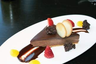 Maya's special Dia De San Valentin dinner includes three  dessert options, including chocolate mousse with chocolate-chipotle sauce and a peanut butter feuillantine crust, pictured here.