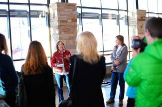 In front of supporters, Jeanne McQueeney announces her candidacy for District 3 Commissioner at Battle Mountain High School on Monday. She is currently on the Eagle County Board of Education.