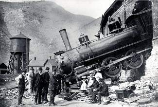Locals dressed up in their Sunday best and turned out for some picture taking in 1913 when Denver and Rio Grande Railroad engine No. 513 crashed through the wall of the roundhouse at Minturn. Learn about this railroading town's history at the Minturn Cemetery Tour on Sept. 6.