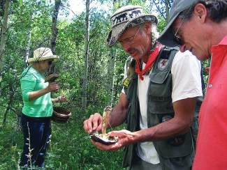 Guide Larry Evans discusses a mushroom found during a mountain excursion. Evans will return to Eagle next weekend for the annual Wild Mushroom and Wine Weekend, planned Aug. 22-24. The event includes forraging, mushroom identification lessons and dining. To learn more or to sign up visit www.EagleMushroomWeekend.com.