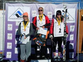 Chloe Margrethe Fausa, center, of Norway, took first place at the NorAm Cup women's giant slalom on Sunday in Vail at Golden Peak. Paula Moltzan, of Ski and Snowboard Club Vail, right, was second, while Kristine Gjelsten Haugen, of Norway, was third.