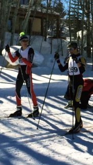 Eagle Valley's Gino Giovagnoli, left, and Battle Mountain's Quintin Cook have a chat before Saturday's Nordic classic race in Steamboat Springs.