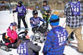 U.S. Paralympic bronze medalist Laurie Stephens, center, shares a laugh with other racers during Adaptive Spirit's 19th annual fundraiser in Vail. Nearly the entire 2014 U.S. Paralympic team was in attendance to support the event.