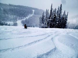 A skier gets some early season turns in Rose Bowl at Beaver Creek.